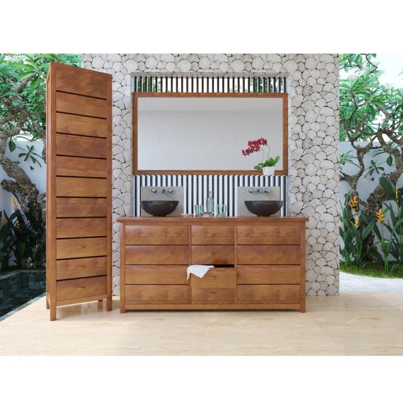Meuble bas de salle de bain teck jimbaran - Meuble bas salle de bain sans vasque ...