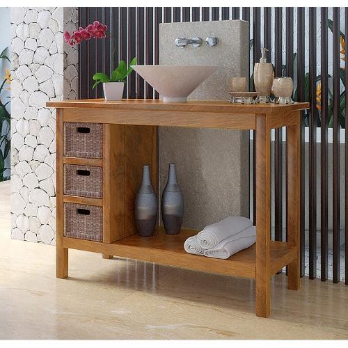 Meuble bas de salle de bain teck kudus for Creer un meuble de salle de bain