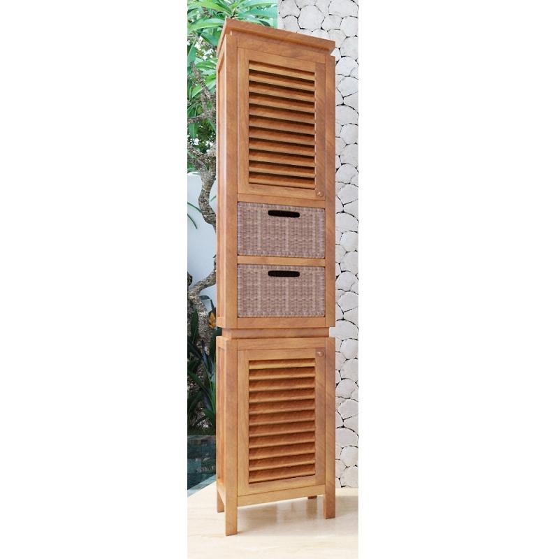 colonne de salle de bain teck ubud 2portes 2 tiroirs