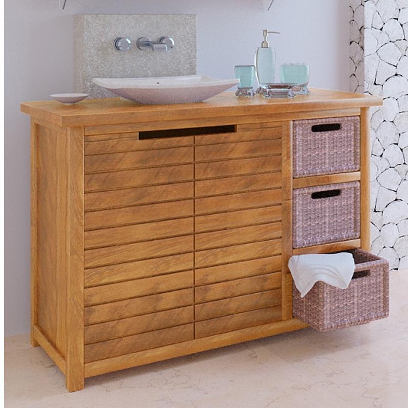 Meuble bas de salle de bain teck sumatra - Meuble bas salle de bain sans vasque ...