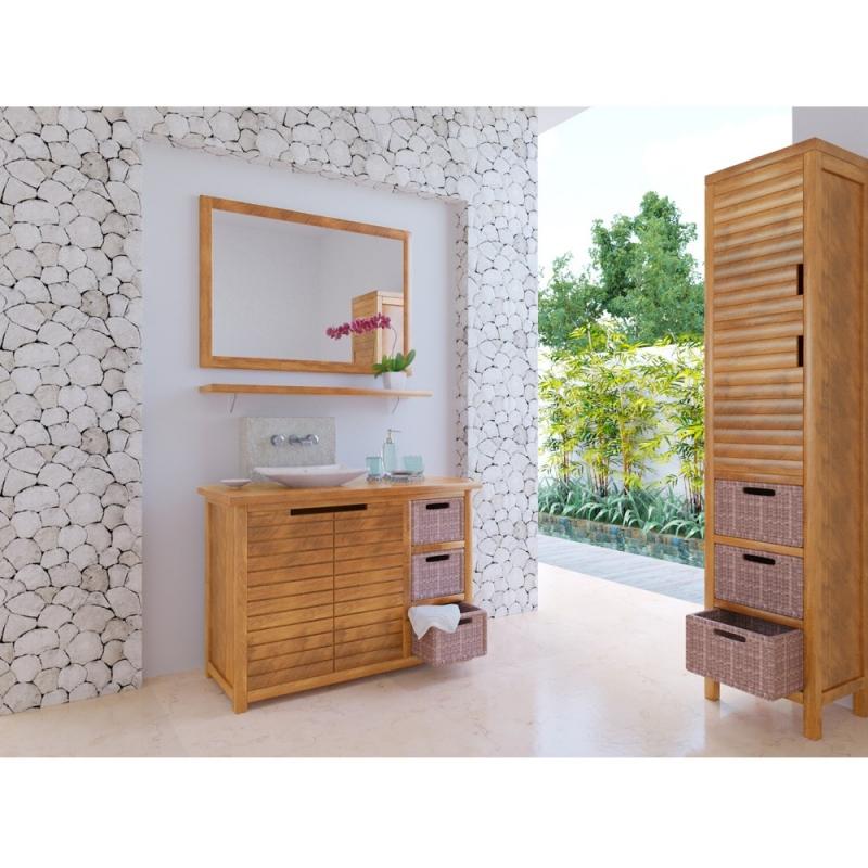 Meuble bas de salle de bain teck sumatra for Meuble salle de bain teck colonial