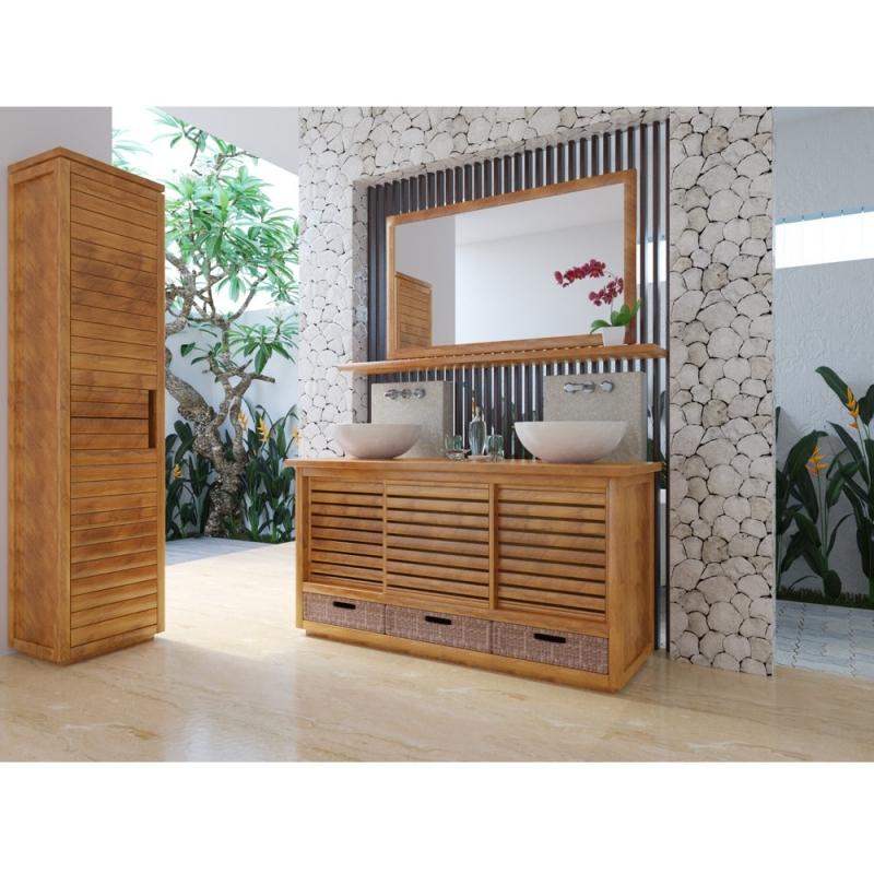 colonne de salle de bain teck solo 2 portes. Black Bedroom Furniture Sets. Home Design Ideas