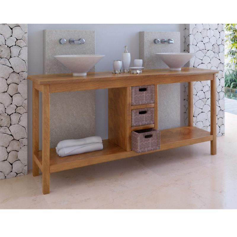 Meuble de salle de bain teck kuta 3 tiroirs - Meuble bas salle de bain castorama ...