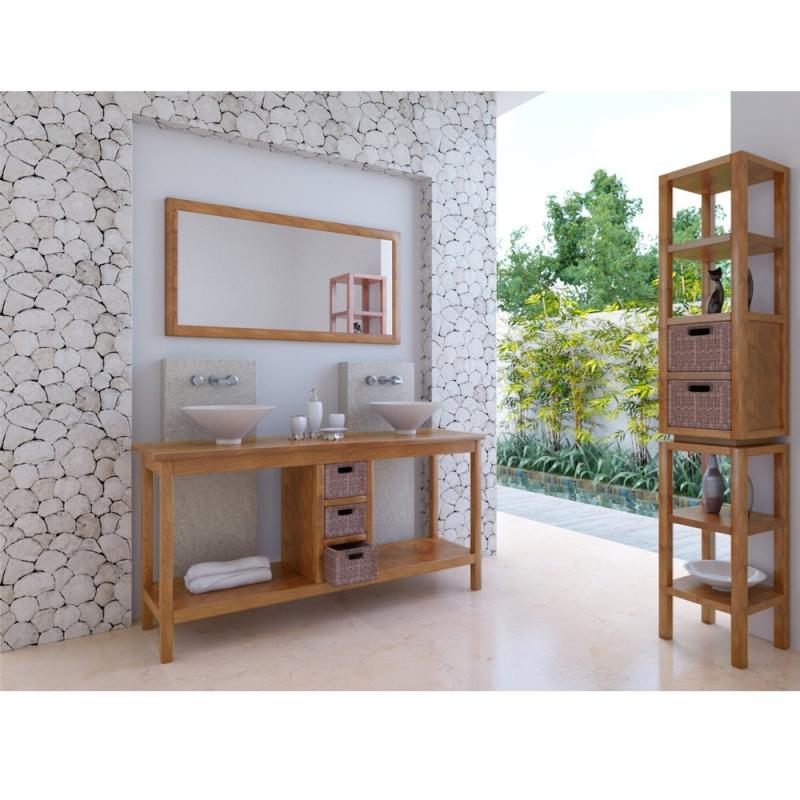 Meuble haut de salle de bain teck kuta for Meuble haut salle de bain miroir
