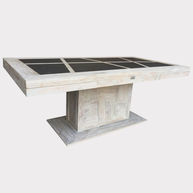 Table de salle manger teck puket pied central for Table de salle a manger pied central