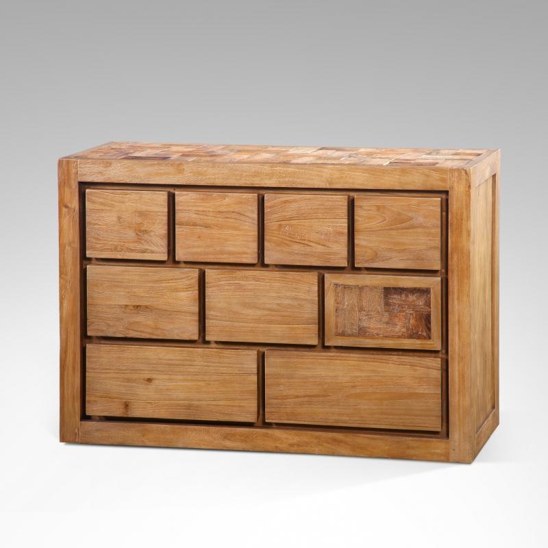 commode teck 9 tiroirs. Black Bedroom Furniture Sets. Home Design Ideas