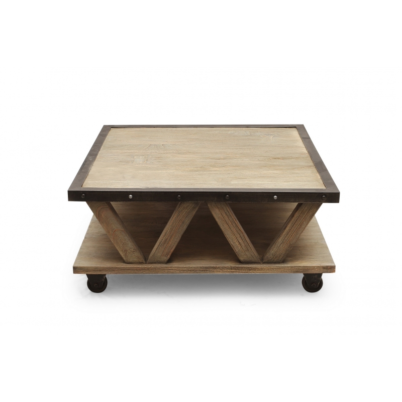 Table basse teck new york industriel - Table basse new york ...