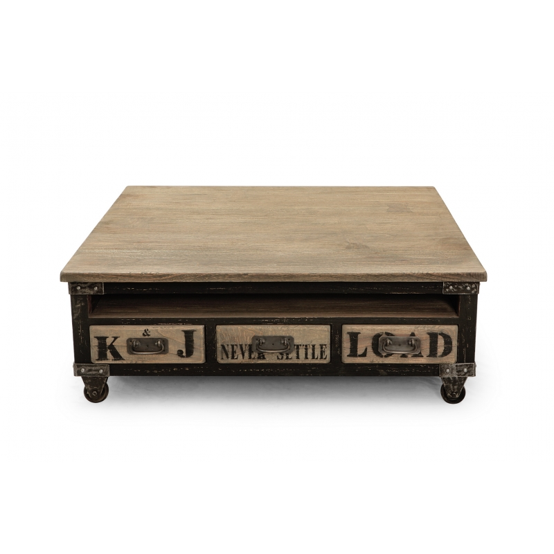 Table basse carree but for Table basse carree industrielle