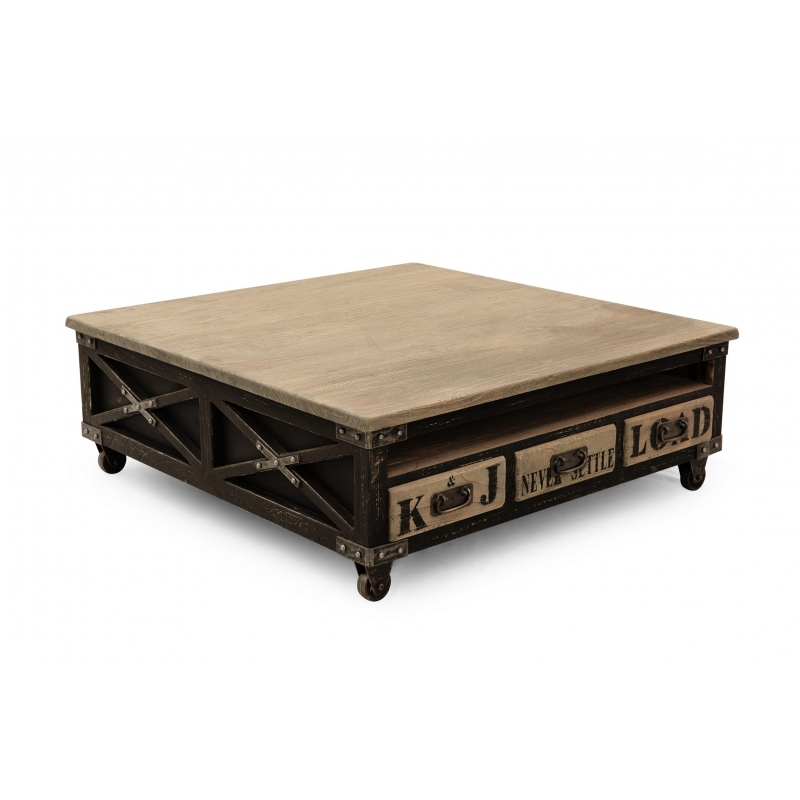 Table basse carree industrielle maison design - Table basse carree en bois ...