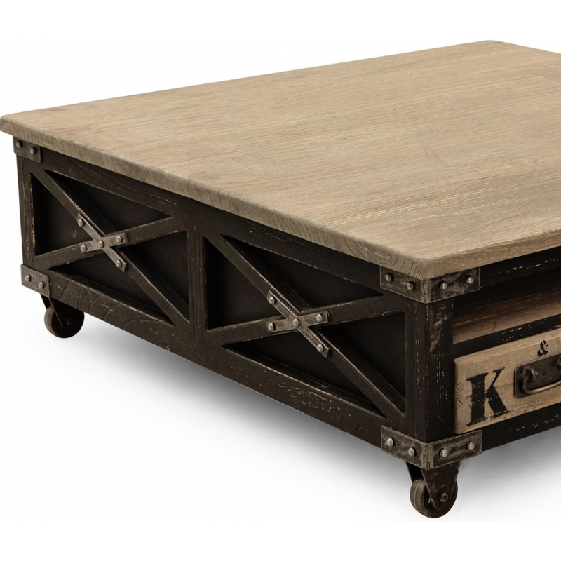 Table basse carree industrielle table basse carr e for Table basse carree industrielle