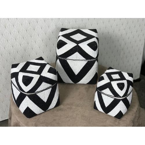 Set de 3 boites Perle Square Black White