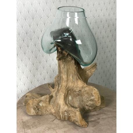 Aquarium ou vase bois flotté M