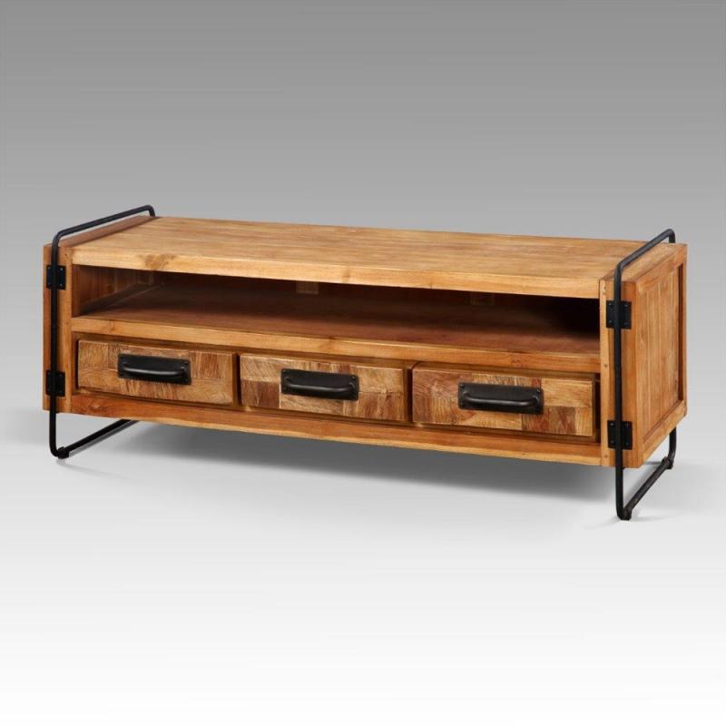 meuble tv retro chic 3 tiroirs industriel. Black Bedroom Furniture Sets. Home Design Ideas