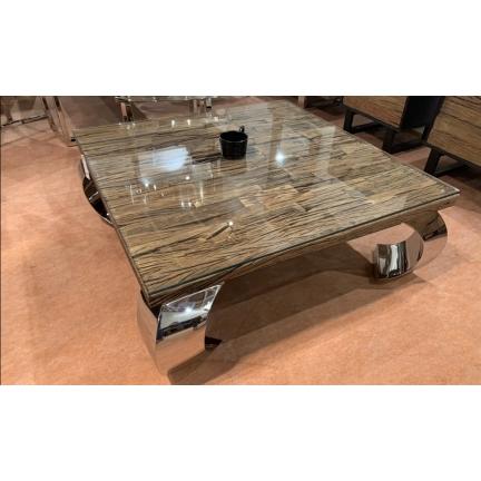 Table Opium Teck recyclé et pieds chromés