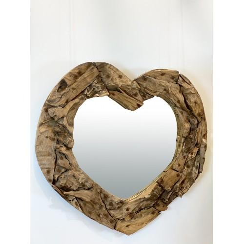 Miroir Cœur en Teck Recyclé