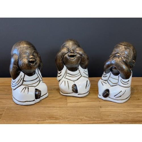 Set de 3 Buddha Rieurs Blanc