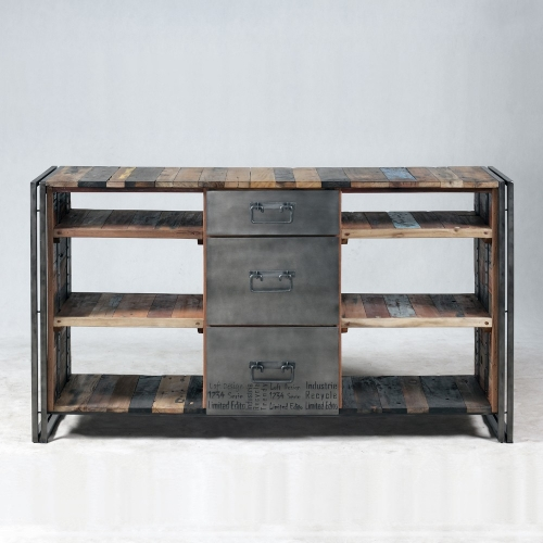 Meuble console Industrielle 3 tiroirs 6 niches--