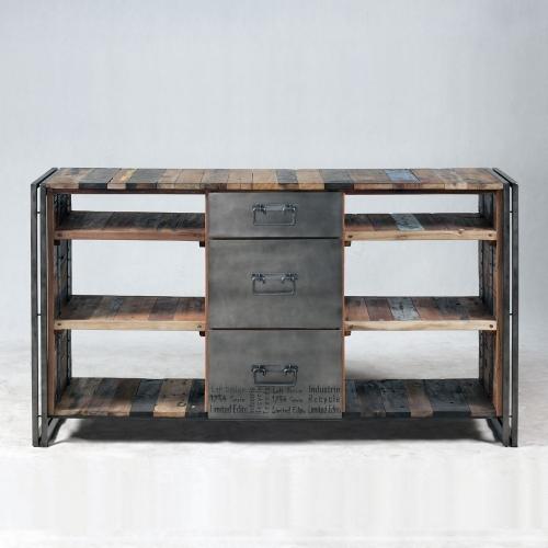 Console bois de bateau et métal Industrielle Loft