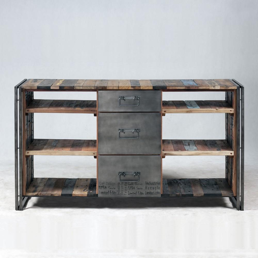 Meuble console Industrielle 3 tiroirs 6 niches--