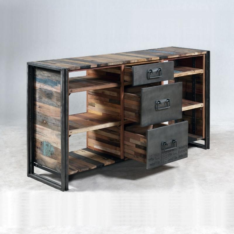 Meuble console industrielle 3 tiroirs 6 niches for Console meuble tv
