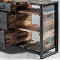 Meuble console Industrielle 3 tiroirs 6 niches