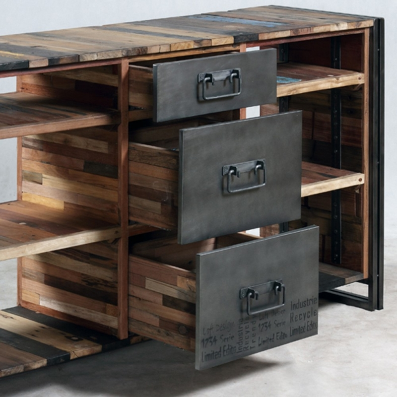 Meuble console industrielle 3 tiroirs 6 niches - Console meuble but ...
